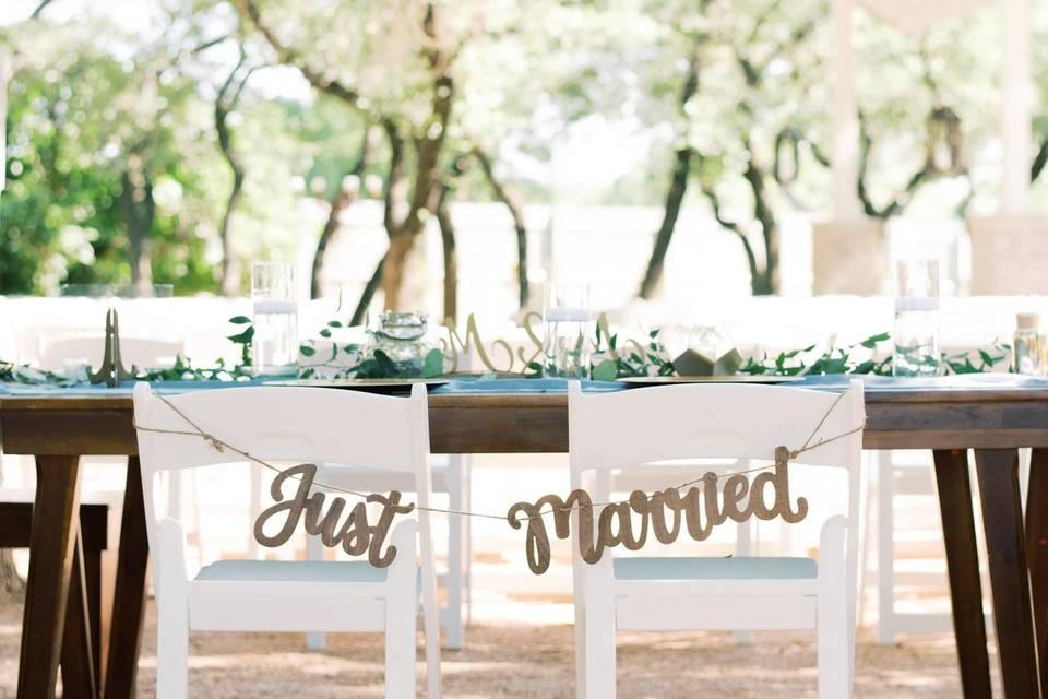 Wood Bridal Tables