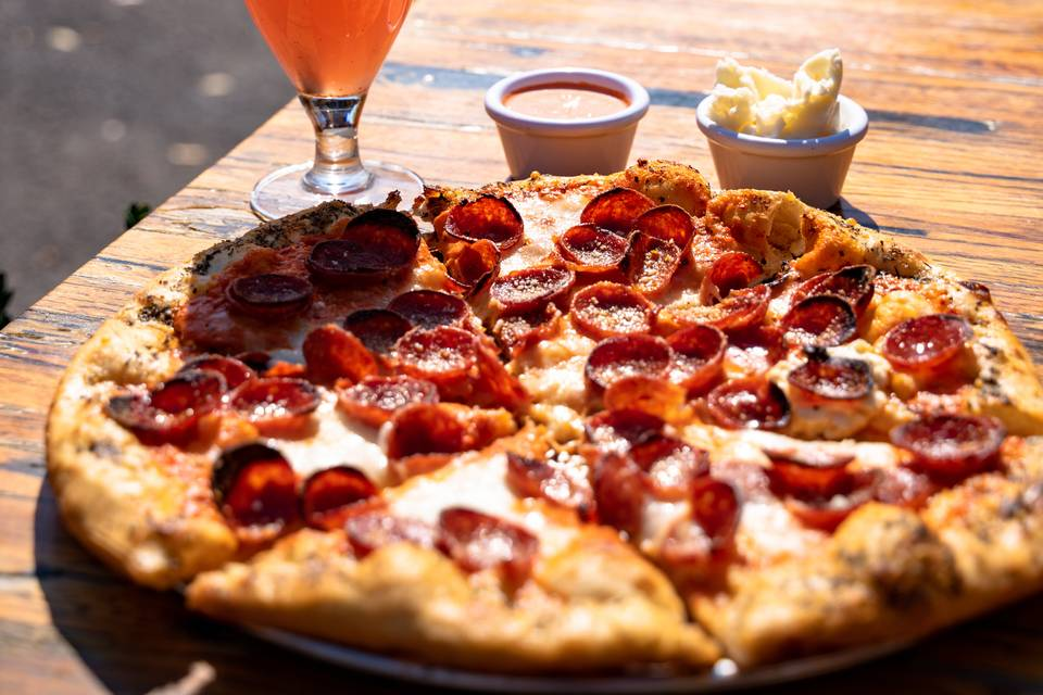 Cocktail and Pepperoni Pizza