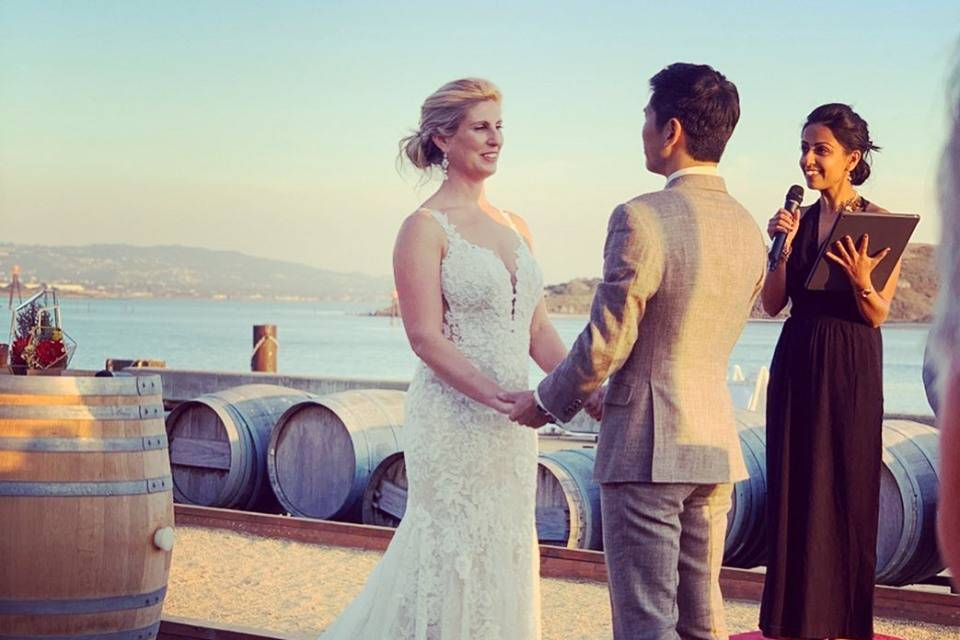A ceremony by the water