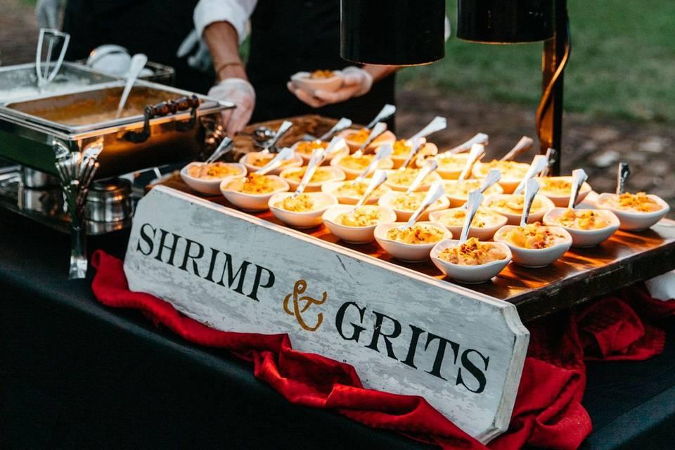 Shrimp and grits station