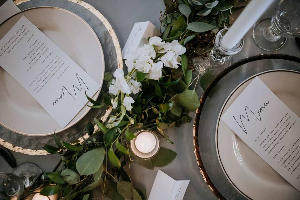 Tablescape and menu cards