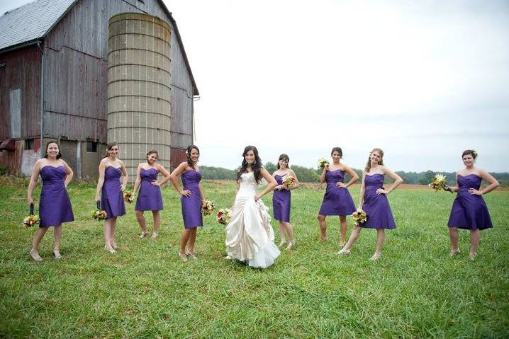 Bride and her bridesmaids in the field