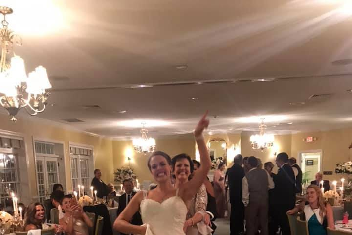 Bride leading conga line