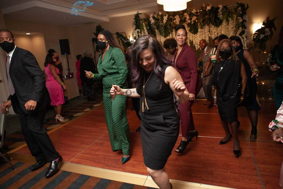 Having fun dancing the night a