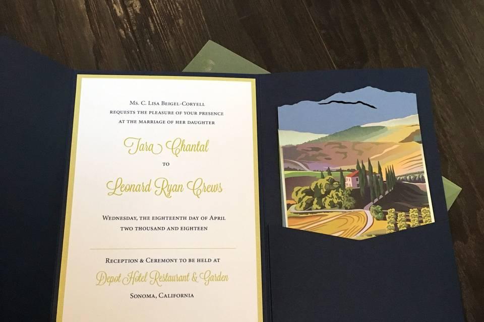 Pocket invitation suite with custom laser inserts
