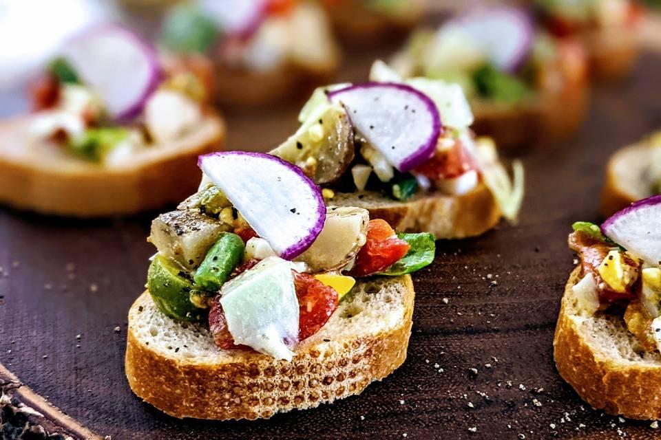 Nicoise salad toasts
