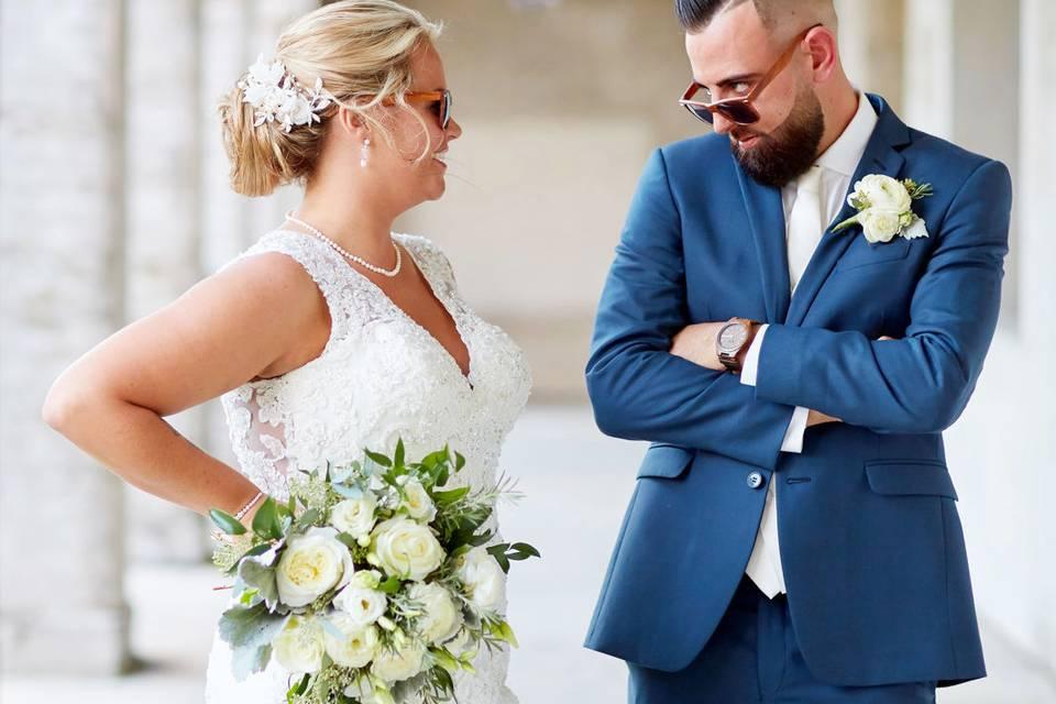 Fun wedding portrait
