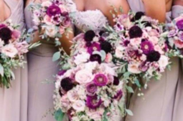 Purples and pinks wedding party