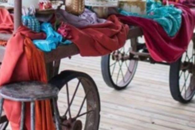 Vintage cart display table