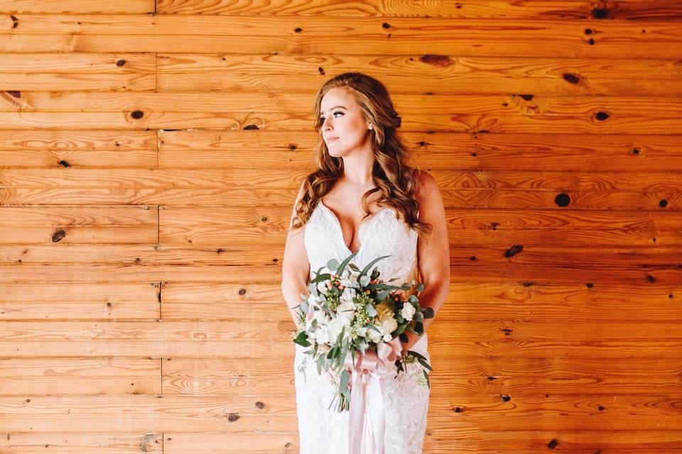 Bride inside barn