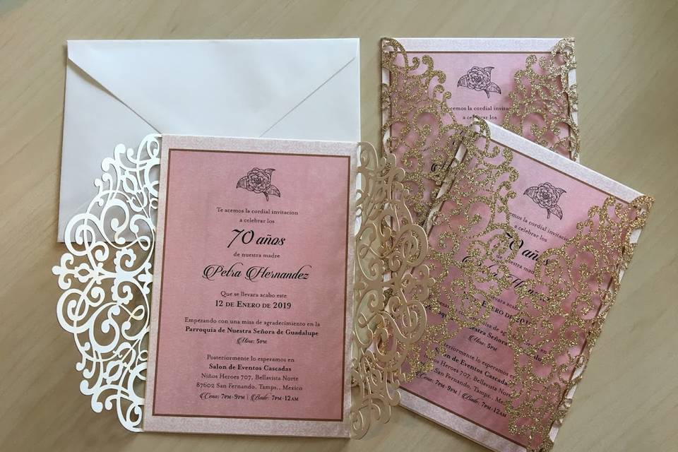 Floral gatefold invitations