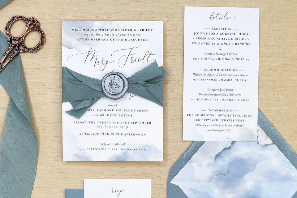 Dusty Blue Water Color Invites