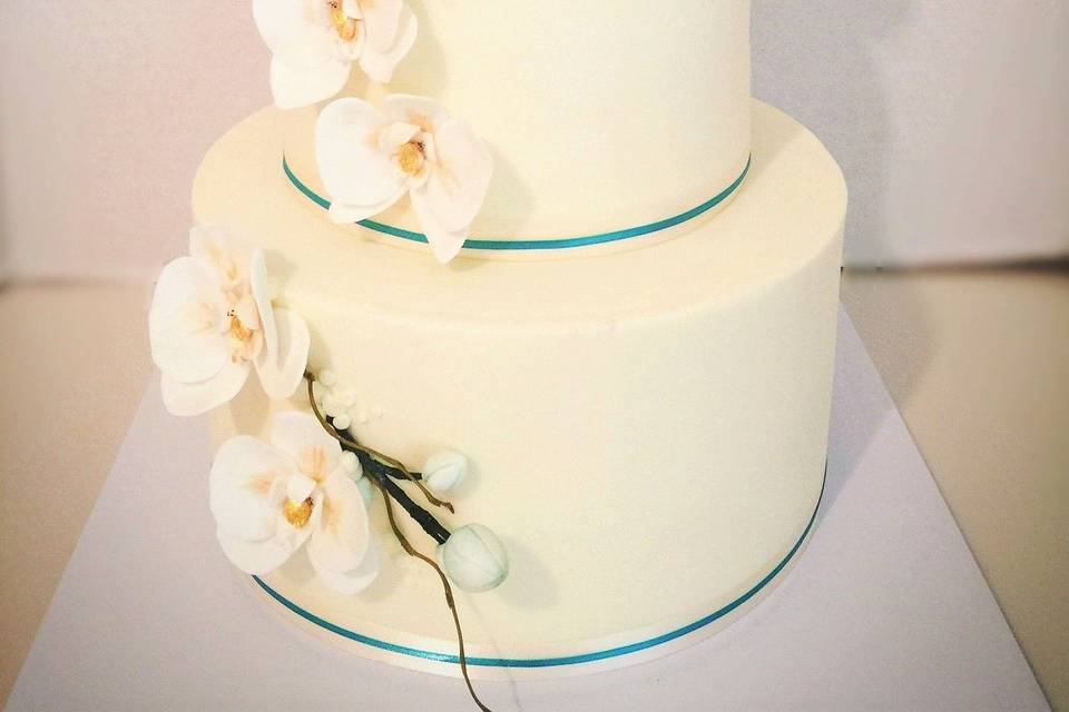 Hand crafted cascading sugar orchid cake