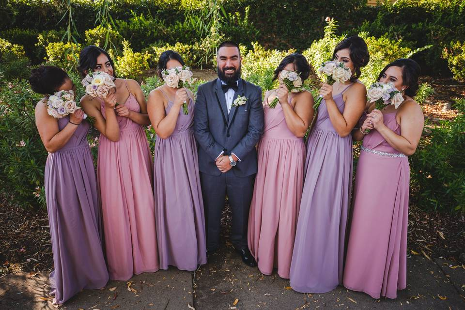 Wedding party with groom - Ivory Sky Media