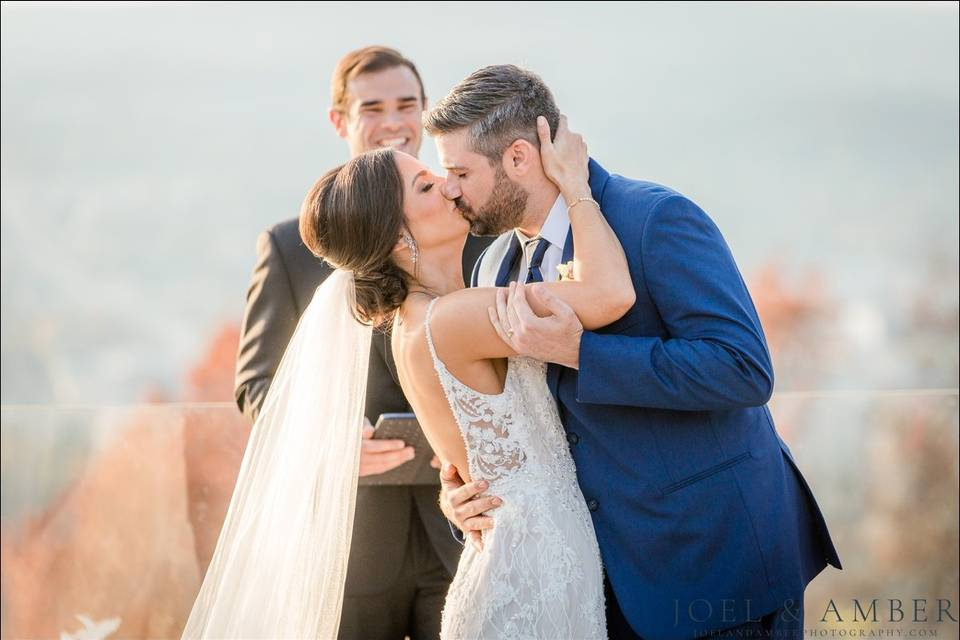 That first kiss as Mr & Mrs