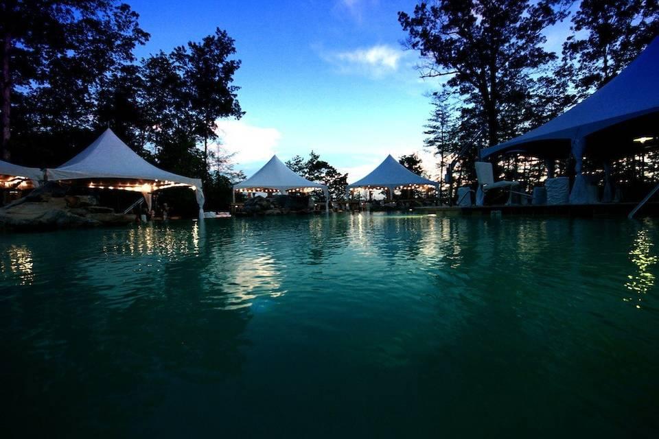 Tent setups by the pool