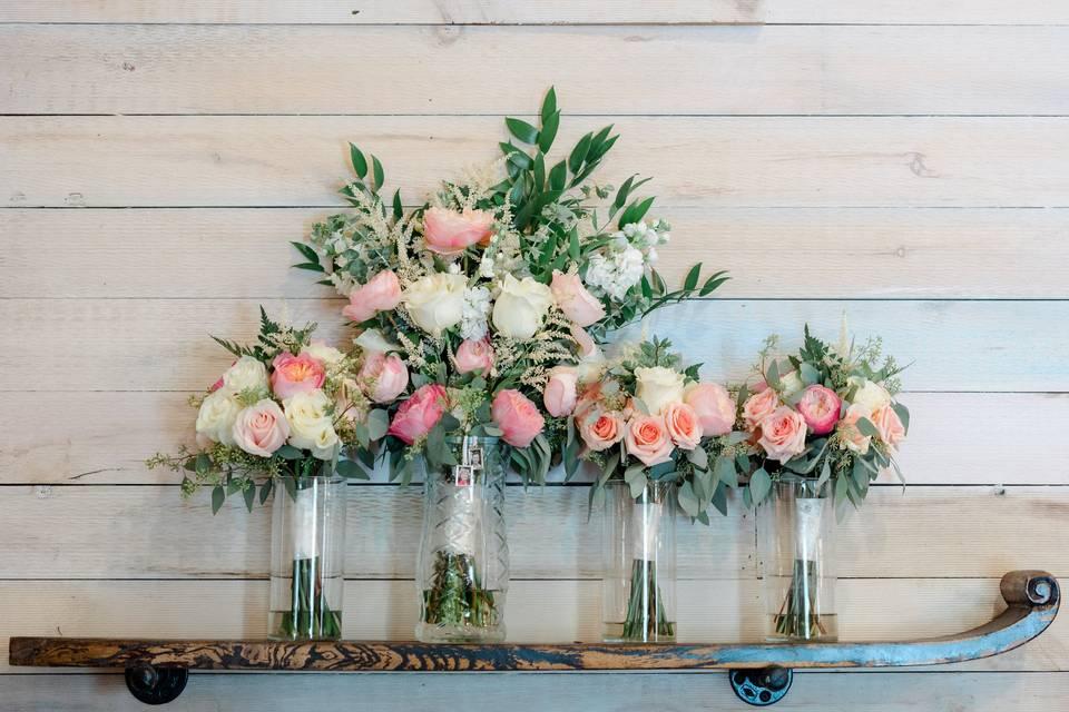 Flowers on a shelf