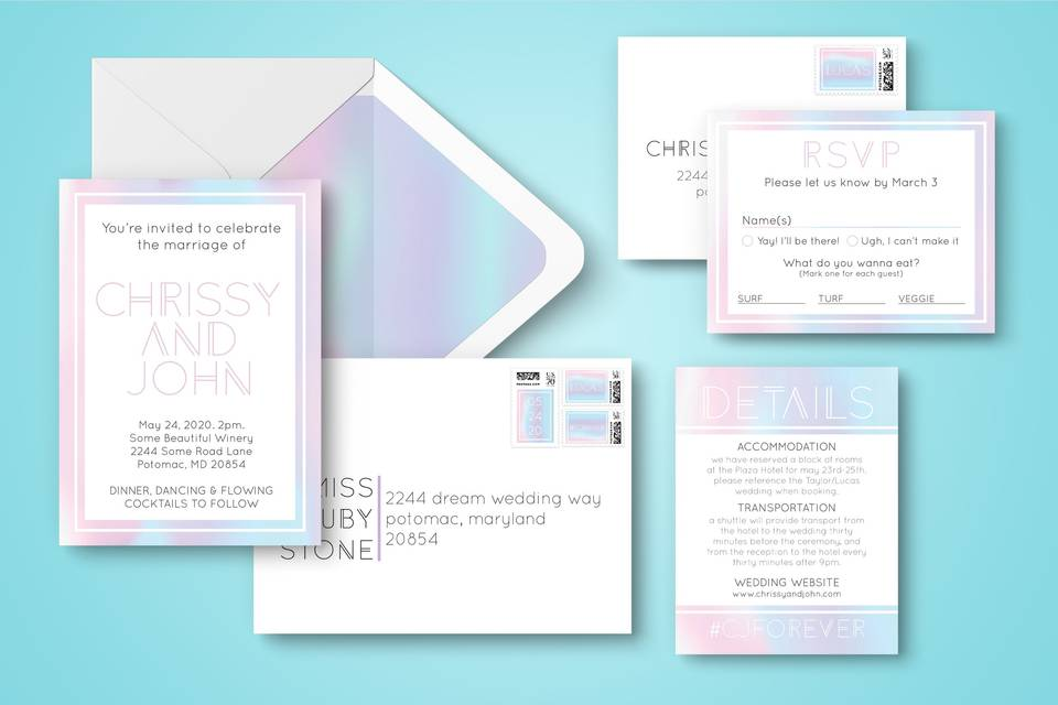 Iridescent invitation suite