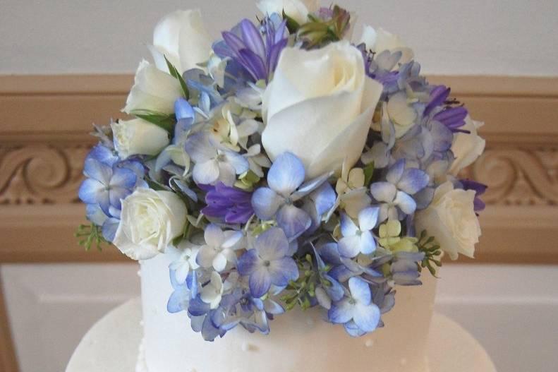 Blue and purple cake decoration