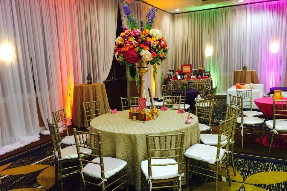 Colorful Table setup with centerpiece