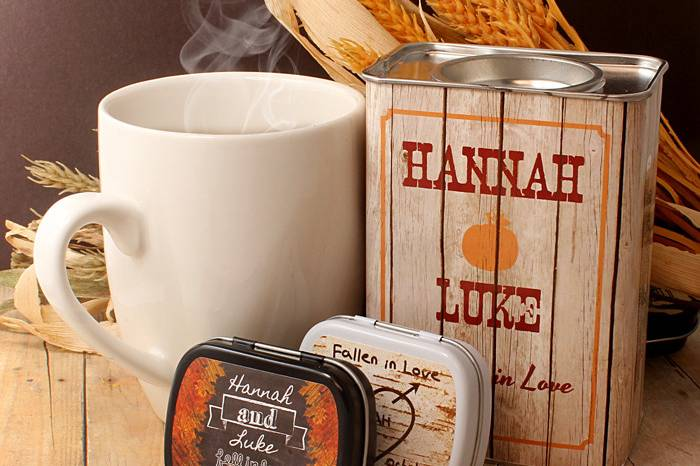 Personalized Rustic Wedding Fall Cocoa. Chalkboard and Country Chic Woodgrain Mint Tin Party Favors