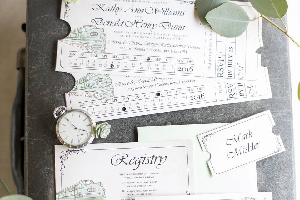 Train Ticket Wedding Invite