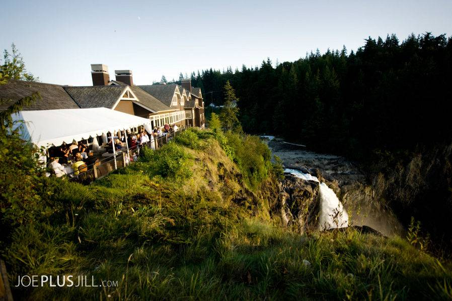 Aerial view of the wedding venue