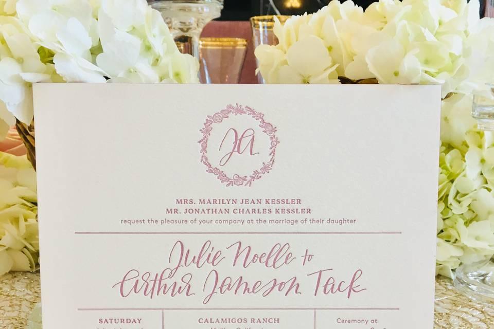 Pretty letterpress invitation