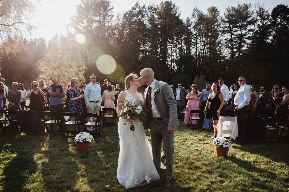 Recessional Wedding Kiss
