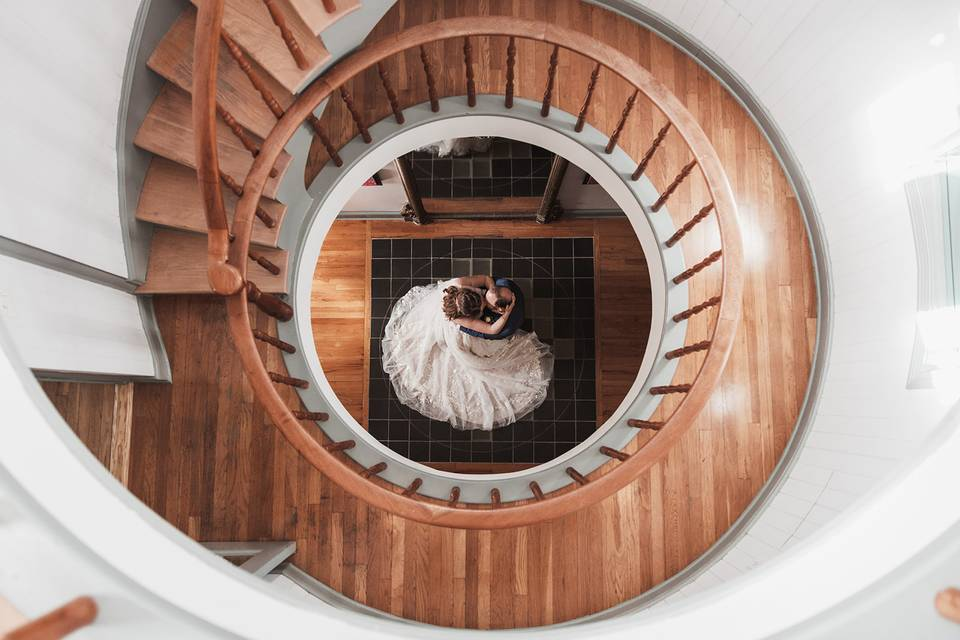 Pretty Spiral Staircase Kiss