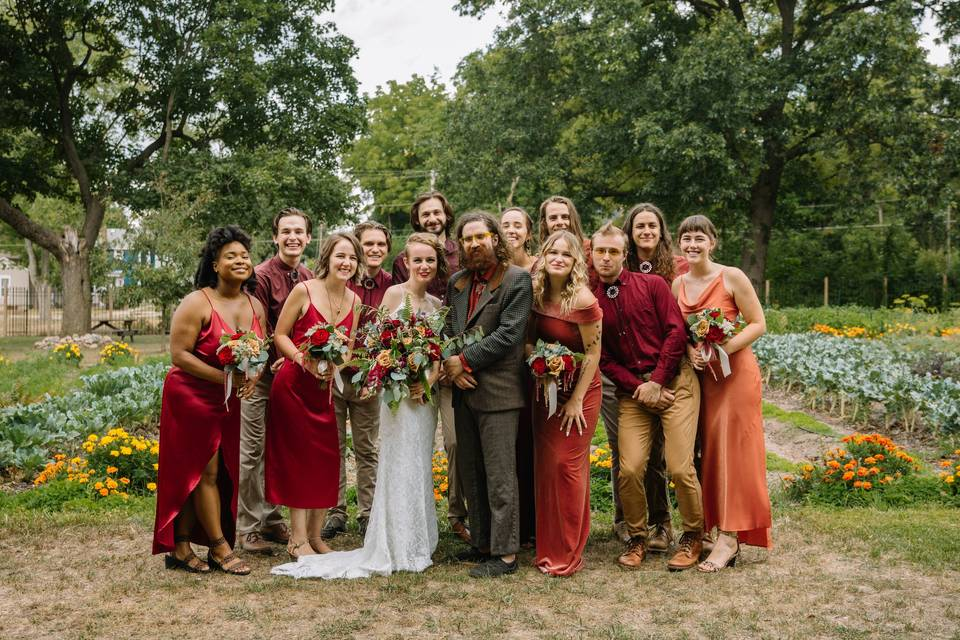 A blooming wedding party