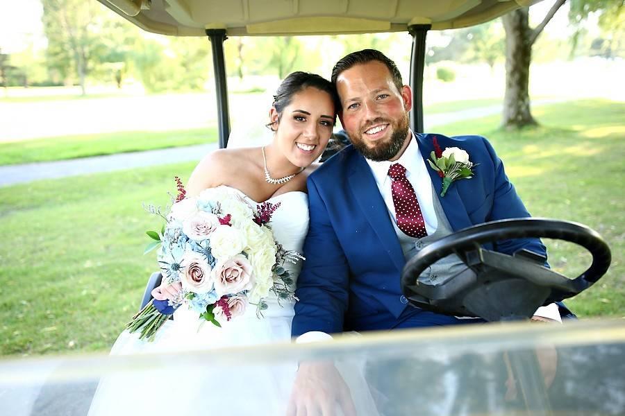 In a golf cart