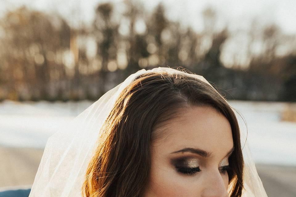 Heavy makeup bride