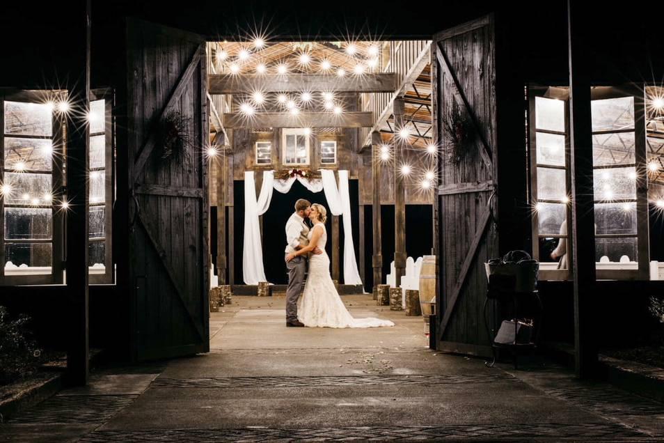 Newlyweds in the barn