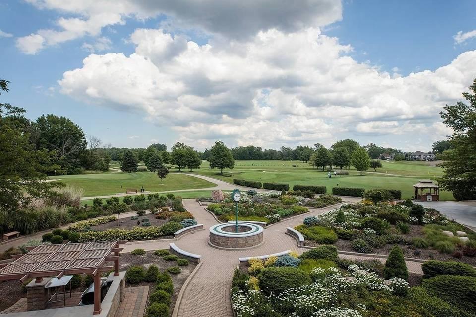 Terrace View of Clock Garden