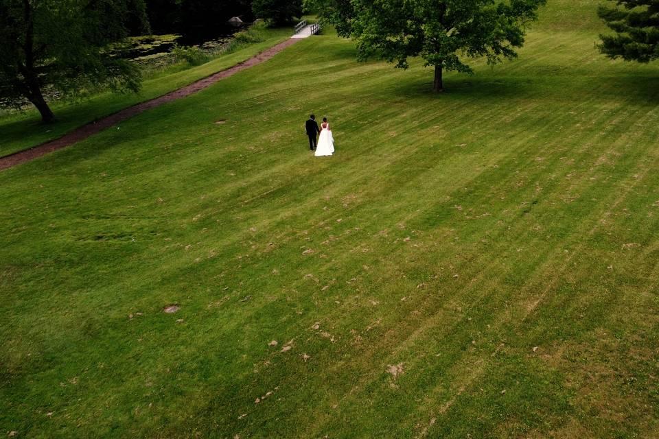 Beautiful trailing drone shot