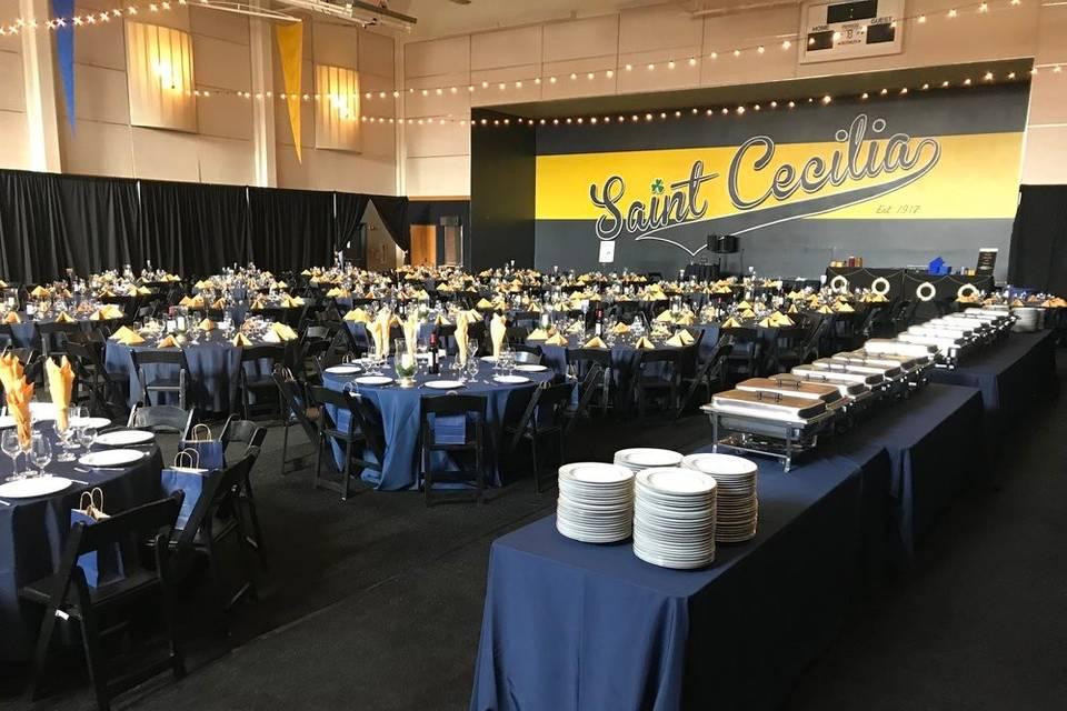 Wedding reception catering setup