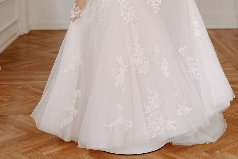 Plus gown with sleeves